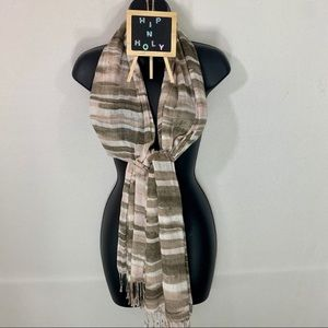 MULTI COLORED SCARF STRIPED PINK AND TAUPE